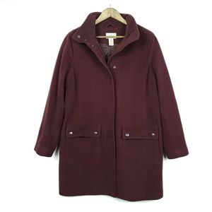 L.L. Bean Burgundy Lambswool Snap Pockets Coat